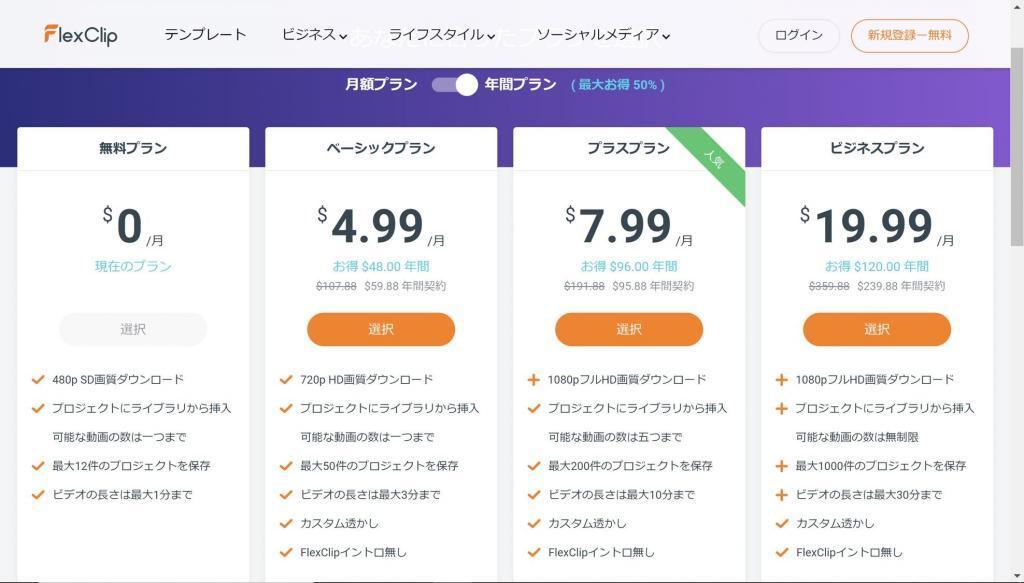 FlexClip 価格